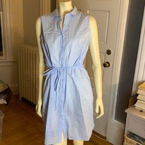 Sleeveless cotton shirt dress